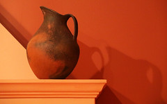 Kitchen Warmth (studioferullo) Tags: art beauty bright colorful colourful colors colours contrast dark design detail edge light lines minimalism perspective pattern pretty shadow study texture tone museum museo americas pitcher hearth orange denver colorado pottery ceramic