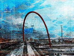 Olympic Arch (http://www.agatti.com) Tags: italy italian italia piemonte piedmont turin torino panorama lingottofiere arco olimpico snowing snow olympic arch xx olympicwinter games bridge walkway architecture building monument construction landmark landscape scape view panorma scene scenery vista veduta cold wonderland culture tourism travel visitors city urban outdoor sky cloud winter digital painting texture layers impressionism impression surrealism surreal realism splatter brush stroke paint colorful rosso red blue railways