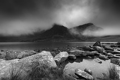 Grand day out.. (Einir Wyn Leigh) Tags: landscape blackandwhite monochrome mono light mountains water darkness rural white black rocks contrast rugged outside clouds climate autumn wales lake uk natural nature storm walking mist