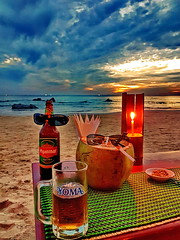 Cheers, Salud, Prosit (gerard eder) Tags: world travel reise viajes asia southeastasia myanmar birmania birma burma ngapali ngapalibeach sunset puestadesol sonnenuntergang atardecer restaurant bar drinks coconuts outdoor clouds wolken nubes beach playa strand paisajes panorama landscape landschaft o tropical tr