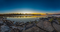 Autumn morning (Tore Thiis Fjeld) Tags: norway oslo maridalen maridalsvannet autumnmorning lake eater rocks stones clear sunrise sky color frostsmoke october fall reflection nature outdoors view panorama