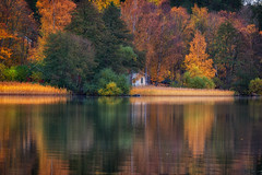 runt Albysjön (anderswetterstam) Tags: fall lake landscape nature seasons water autumn colorful autumncolors red yellow reflection beauty changes houses buildings