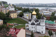 Nizhny Novgorod, Russia (Oleg.A) Tags: grass autumn nizhnynovgorod church nature city cityscape viewpoint clouds morning tower orthodox roof style cross volga landscape russia cloudy gold oka town exterior colorful old ancient dome cathedral building street sky green design outdoor overcast architecture