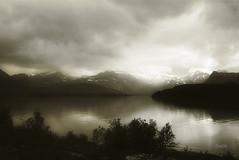 Inndyr. Nordland . Norway (ibethmuttis) Tags: mountains fjord landscape snow storm sky bushes fog calm serenity nordland norway panasonicdcmlx100 nature