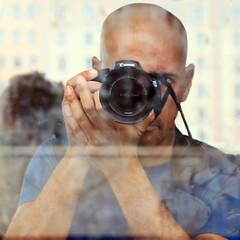 Self-reflections (Robyn Hooz) Tags: self reflection photo immagine autoritratto vetro glass camera macchina lens obbiettivo canon shaved head italian uomo italia photography