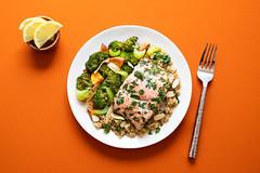 Salmon + Veggies (ella.o) Tags: salmon food vegetables lemon broccoli orange lunch dinner healthy plate dish diet