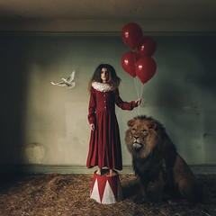 The Circus (Adam Bird Photography) Tags: adambirdphotography adambird clown circus girl lion flickr explore square conceptual fineart fantasy story narrative red dress it halloween dark building abandoned derelict composite photoshop