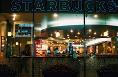 ... (june1777) Tags: snap street seoul night light bokeh cafe kyocera contax n1 carl zeiss n planar nplanar 50mm f14 fuji superia xtra 400