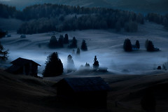 Mist In The Dolomites (aha42   tehaha) Tags: alpedisuisi italia italy seiseralm mist morning sunrise valley kastelruth bolzano it glow book