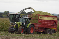 Claas Jaguar 970 SPFH filling a Herron Trailer drawn by a Claas Arion 640 Tractor (Shane Casey CK25) Tags: claas jaguar 970 spfh filling herron trailer drawn arion 640 tractor rathcormac self propelled forage harvester traktor traktori tracteur trekker trator tillage ciągnik silage silage18 silage2018 maize maize18 maize2018 winter feed fodder county cork ireland irish farm farmer farming agri agriculture contractor field ground soil earth cows cattle work working horse power horsepower hp pull pulling cut cutting crop lifting machine machinery nikon d7200
