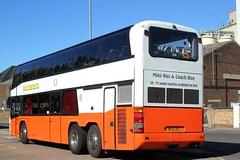 Rear end of - Barker Bus Ltd . Roydon . Essex . M155HST ( ex YM51HMW ) . Bishop's Stortford Bus Interchange , Hertfordshire . Wednesday 26th-September-2018 . (AndrewHA's) Tags: hertfordshire bishopsstortford bus barkerbus rear back tail end double deck coach neoplan skyliner n1223 m155hst second hand ym51hmw trathens plymouth devon national express