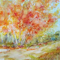 Watercolour...Autumn colors accompany me (Nadia Minic) Tags: outdoor painting watercolour autumn trees red orange yellow colours art modernart contemporaryart nadiaminic luxembourg