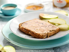 Almond Butter Toast (Bitter-Sweet-) Tags: vegan food easy healthy toast breakfast brunch bread yeast gluten homemade butter almond nuts toasted apples maple syrup sweet simple