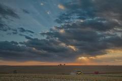 Corn Harvest at Sunset (wdterp) Tags: sunset evening clouds corn harvest combine sun rays