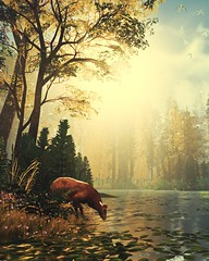 Morning Sip (Stachmoon) Tags: morning sip gray dawn lake forest sunrise birds screenshot digital art reshade video game indie deer