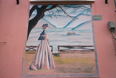 Lady (goodfella2459) Tags: nikonf4 afnikkor50mmf14dlens kodakektar100 35mm c41 film analog colour mural streetart borgosangiuliano rimini italy manilovefilm