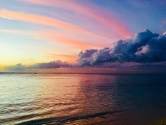 Mauritius sunset (lesleydugmore) Tags: clouds sky sea red blue pink yellow outside outdoors mauritius sunset indianocean paradise scenic heavenly