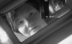 Myself inside a mirror (Southern Darlin') Tags: self me photography photo portrait selfportrait reflections mirror vanity bw blackandwhite black white woman people bnw
