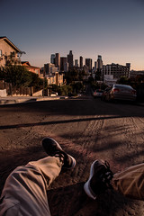 IMG_7747 (upalpatel) Tags: losangeles dtla depthobsessed california socalvibes road cars shoes person legs cityscape skyline skyscraper sky sunset downtownla downtown architecture art color