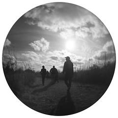 Walking in the Autumn Sun (Sean Anderson Media) Tags: walking autumn fall sky silhouette vignette olympusem10markiii olympusem10 lomographymicro43experimentalfisheyelens fisheye fisheyelens lomography lomographyexperimentalfisheyelens sunset lensflare clouds hike