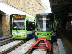 Croydon trams Nos. 2553 and 2563. (johnzebedee) Tags: tram transport publictransport croydon surrey croydontramlink johnzebedee tfl bombardier stadler