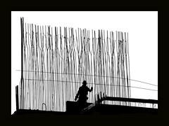 construction worker (heinzkren) Tags: schwarzweis blackandwhite bw sw monochrome silhouette man construction panasonic lumix urban candid bau bauarbeiter konstruktion frame rahmen black lines structure moniereisen betonstahl steel concrete beton baustelle zone innamoramento