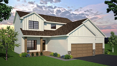 SF 01 (Mat_B) Tags: 3d model sketchup photoshop single family home house rendering trees sky bushes siding traditional architecture
