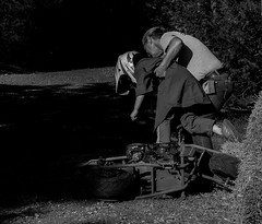Helping Hand In Turn 2 (Tim @ Photovisions) Tags: nebraska bike minibike races kids crash blackandwhite monochrome fuji xt2 fujifilm