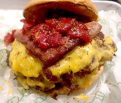 I shook the shack (n.a.) Tags: shake double smoke shack sweet red chilli peppers beef cheese bacon bun fast food burger cheeseburger canary wharf e14 london