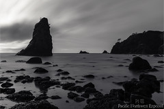 Point of the Arches 2311 (All h2o) Tags: monochrome black white point shi beach coast ocean sea seaside olympic national park peninsula water sky clouds pacific northwest rock arches seastack stack