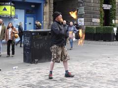 Fire Juggling (motoko_69) Tags: streetentertainment don'ttrythisathome juggling firejuggling lumixtz70 tz70 royalmile edinburgh scotland