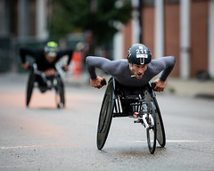 Chicago 2018 Marathon (Fret Spider) Tags: chicago2018marathon greektown race wheelchair courage canon5dsr canonef300mmf28lisiiusm prime wideopen telephoto supertelephoto booked bokehdelicious dof depthoffield outoffocus blur downtown il athlete adams outside outdoors urban city street competition sport vehicle motorcycle bike outdoor