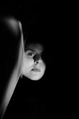 enter the void (Eli Modje) Tags: body bw blackandwhite face girl hair shadow light mystery black noir melancholy persona grey minimal minimalism eye portrait lips