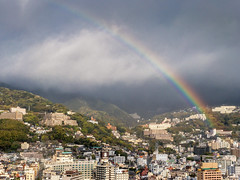 180406 Atami-02 v. 2.jpg (Bruce Batten) Tags: atmosphericphenomena buildings cloudssky honshu japan locations northpacificocean occasions oceansbeaches plants rainbows sagamibay shizuoka subjects trees trips urbanscenery vacations