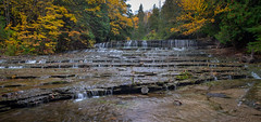 Lower Au Train Falls (Hickory Hill Photography) Tags: waterfall fall autumn colors leaves leaf rocks water michigan upperpeninsula autrain