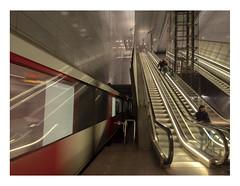 Amsterdam - Rokin subway station (AurelioZen) Tags: europe metherlands northholland amsterdam rokin gvbsubwaystation people glasselevatorshaft escalators voyagers