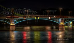 Bridge (K&S-Fotografie) Tags: brücke bridge main river water nacht city reflection color lights longexposure langzeitbelichtung stadt frankfurt night wasser