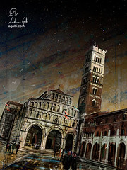 SanMartino (http://www.agatti.com) Tags: italy italian italia toscana tuscany lucca medieval church cathedral duomo saint martin site old place ancient historical architecture building monument dome cupola bell tower portico landmark landscape scape view panorma scene scenery vista city town urban outdoor sky stas starry evening nightfall night dark afternoon digital painting texture layers impression surreal realism splatter stains spots drip dripping brush stroke birds wind