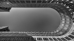 Horseshoe (Leipzig_trifft_Wien) Tags: rot building form shape lookup lookingup black white blackandwhite bnw bw architecture modern contemporary city urban manmade