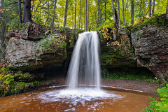 Scott Falls (Hickory Hill Photography) Tags: water waterfall au train michigan puremichigan upperpeninsula fuji leaves leaf fall colors rocks
