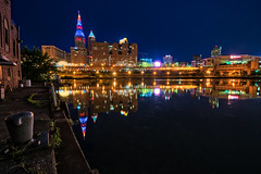 Black and Blue (tquist24) Tags: cleveland cuyahogariver hdr nikon nikond5300 ohio outdoor terminaltower architecture bluehour city cityscape geotagged lights longexposure morning reflection reflections river sky skyscraper water unitedstates