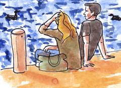 Een prachtige dag in Rotterdam / a beautiful day in Rotterdam (h e r m a n) Tags: herman illustratie tekening drawing illustration dagboek diary journal mijnleven mylife rotterdam kralingsebos zon sun water herfst autumn couple stel manenvrouw manandwoman