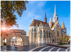Matthias Church, Budapest (4th Life Photography) Tags: budapest matthiaschurch church morning sunshine sun sighseeing famousplace landmark historic place nationallandmark nobody monument hungary hungarian old architecture blue sky sunrise tower fishermanbastion tourism bastion buda famous capital town travel
