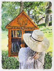 A watercolor of a person wearing a sun hat stopping to browse the titles of books in a Little Free Library Book Exchange (thstrand) Tags: american aquarelle art arts artwork backgrounds bonnet bonnets bookexchange books bookshelf browse browsing color colorful communications community consideration considering exchanges impressionism impressionist impressionistic libraries literature littlefreelibrary littlelibrary local looking mn minnesota neighborhood northamerica oneperson outdoors outside painting printedmedia reading seasons selecting selection share sharing small summer sunhat sunhats tiny us usa unitedstates visualarts water watercolor watercolorpainting watercoloronpaper watercolors watercolour wooden