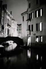 nuit noire (asketoner) Tags: night canal venezia italy water buildings blur blurry windows bridge reflection darkness dark