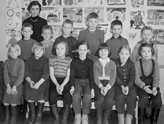 Class photo (theirhistory) Tags: jumper jacket trousers wellies shoesshorts teacher wellingtons school class form pupils boy children kids girls dungarees