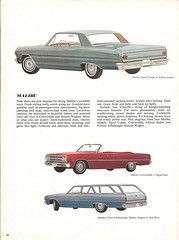 Pages from a 1965 Chevrolet full line brochure (Hugo-90) Tags: 1965 chevrolet car auto automobile ads advertising brochure malibu sport coupe convertible station wagon