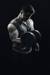 :: strong :: (mjcollins photography) Tags: senior boy weight lifting strong gym fitness light dark low key