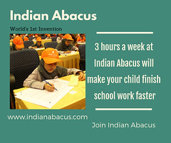3 hours a week at Indian Abacus will make your child finish school work faster (Ind-Abacus) Tags: abacus mental mind math maths arithmetic division q new invention online learning basheer ahamed coaching indian buy tutorial national franchise master tutor how do teacher training game control kids competition course entrepreneur student indianabacuscom
