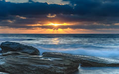 And the sky lit up - a moody Sunrise Seascape (Merrillie) Tags: daybreak theskillion dawn nature australia terrigal rocky morning sea waterscape newsouthwales rocks earlymorning nsw coast landscape ocean sunrays cloudy sunrise coastal clouds outdoors seascape waves centralcoast water sky
